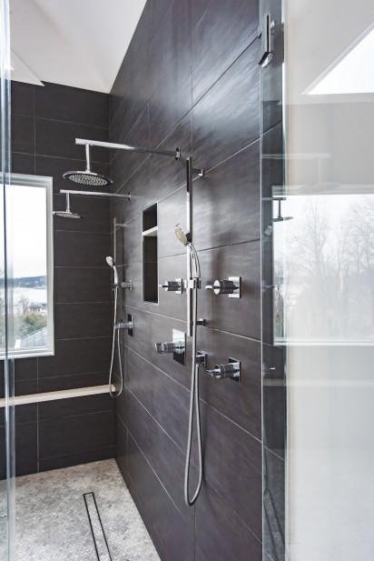 dark-wood-tile-shower-dual-shower-heads-stainless-steel