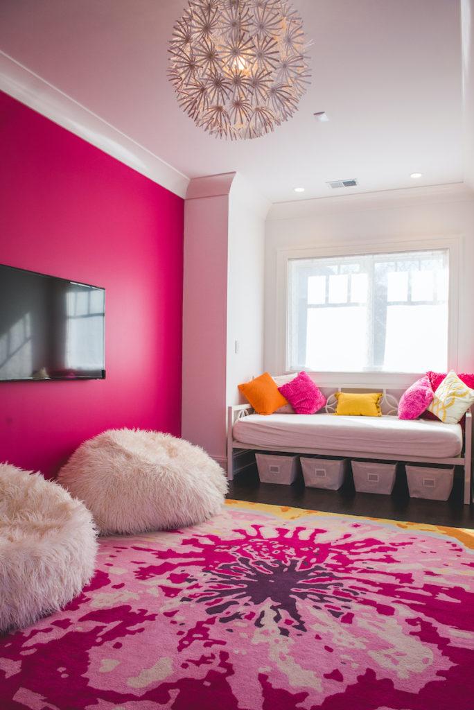 Kids Pink Tie Dye Bedroom Rug