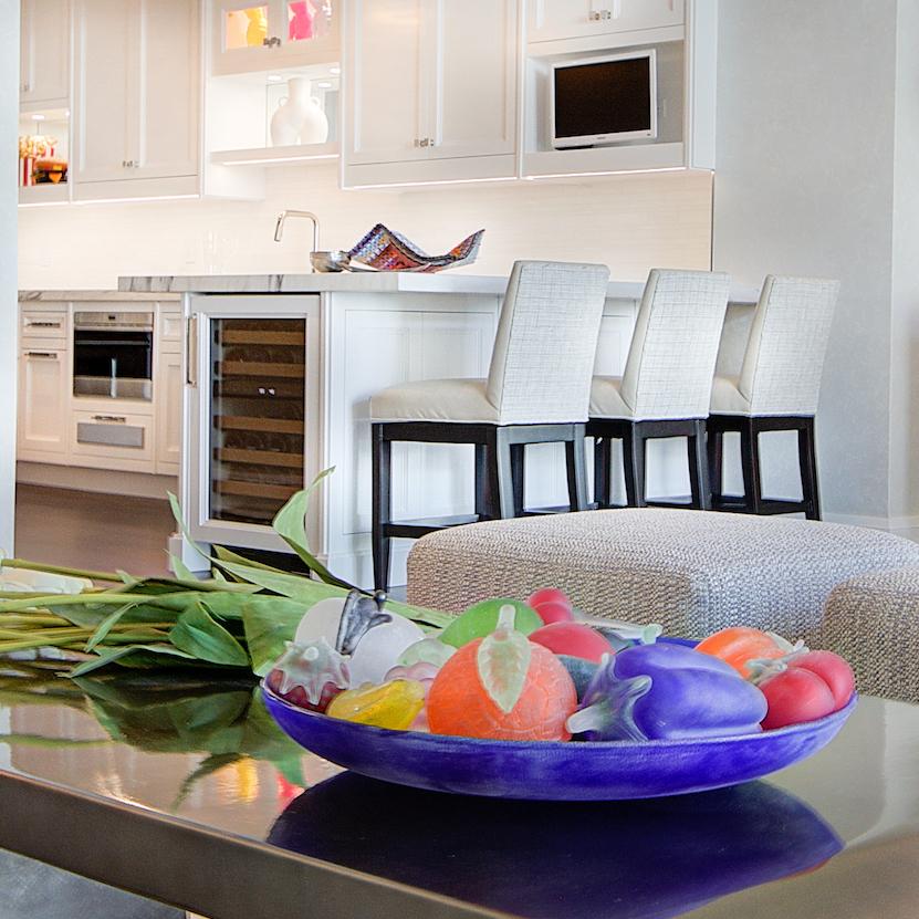 Living Room Coffee Table Glass Fruit Decor