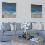 Living Room Design Round Coffee Table Blue Couch